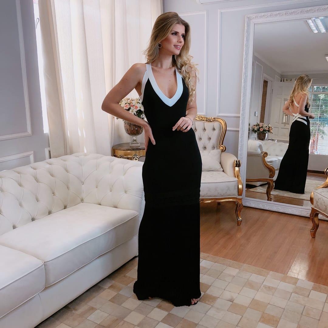 Vestido de Tricot Rayon Longo