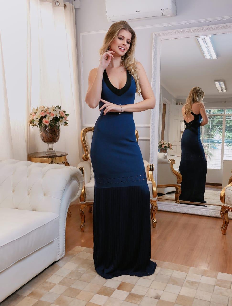 Vestido de Tricot Rayon Longo Azul Marinho