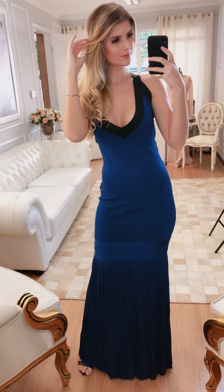Vestido de Tricot Rayon Longo Azul Royal