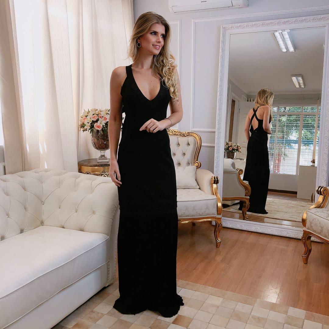 Vestido de Tricot Rayon Longo Preto