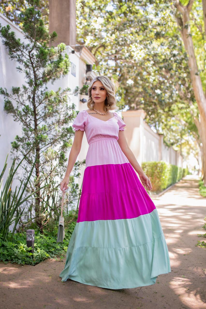 Vestido Longo de Linho e Algodão Decote e Manga Princesa