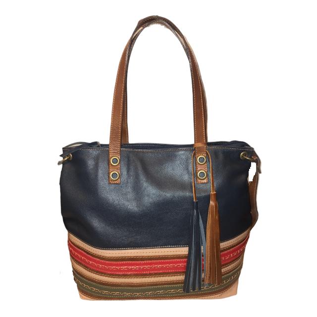 Bolsa Bag Grande em Couro Marinho/Areia