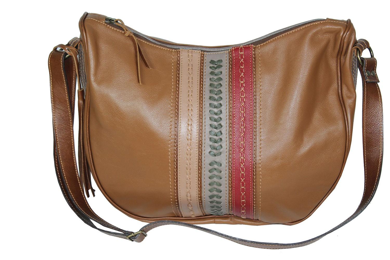 Bolsa em Couro Grande Caramelo Com Detalhes TDS5110