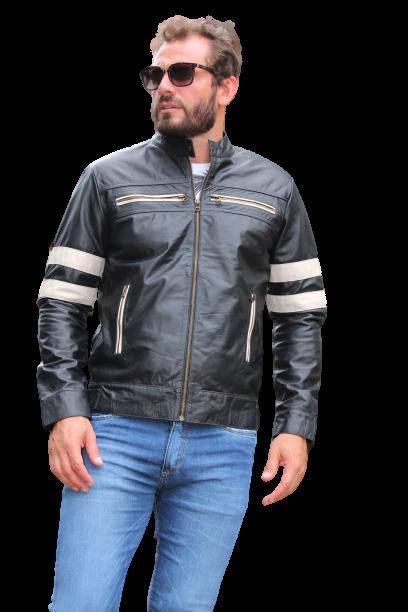 Jaqueta de Couro Modelo Logan Preto/Gelo