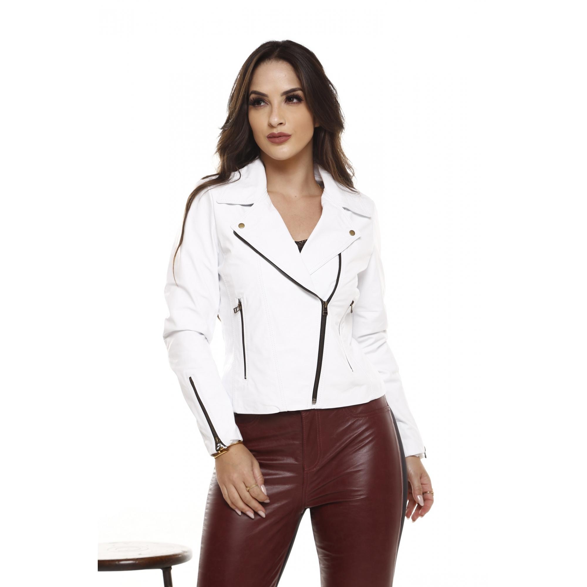 Jaqueta de Couro Moto Branco