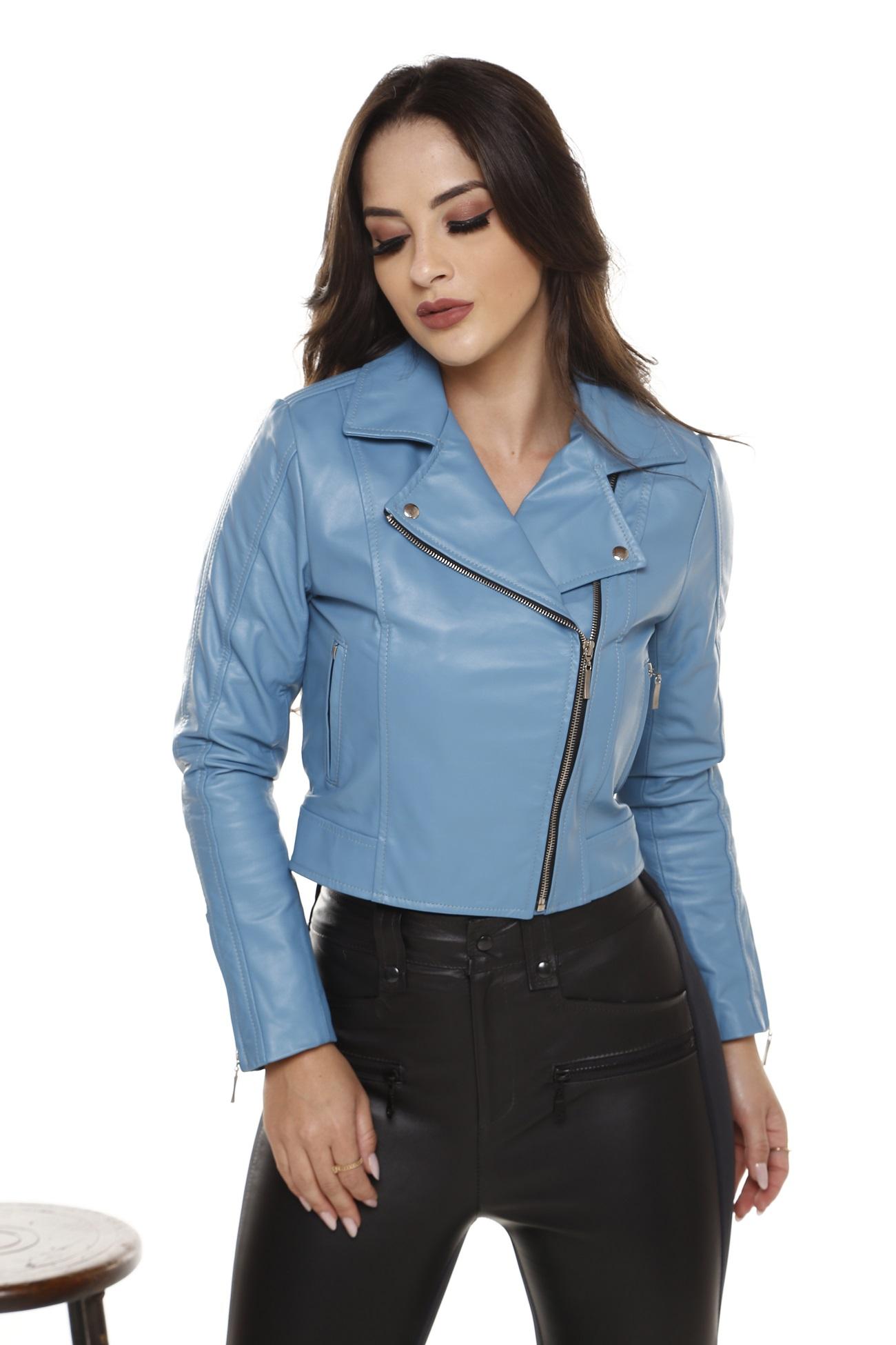 jaqueta de Couro Vicky Azul