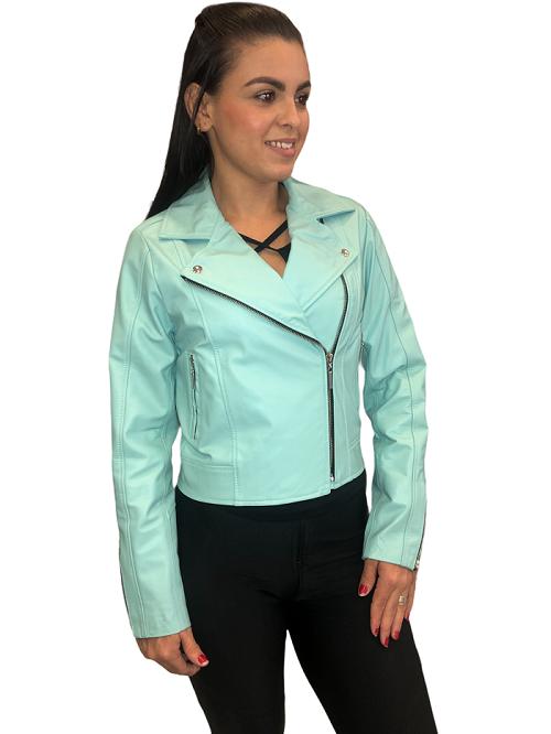 jaqueta de Couro Modelo Vicky Acqua