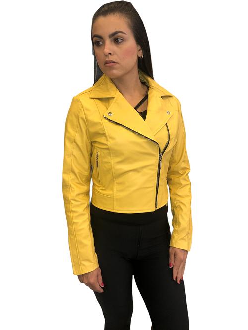 jaqueta de Couro Modelo Vicky Amarelo