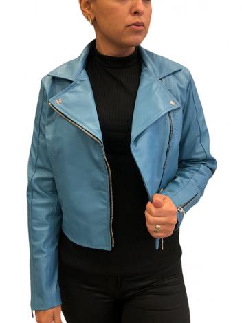 jaqueta de Couro Modelo Vicky Azul
