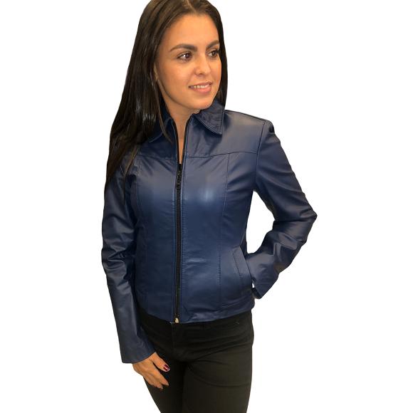 Jaqueta de Couro Gola Camisa Modelo TDS113