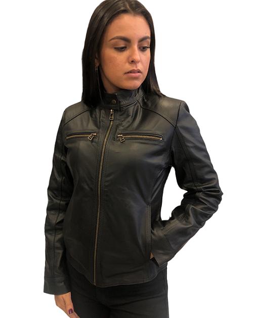 Jaqueta de Couro Modelo Gina Preto