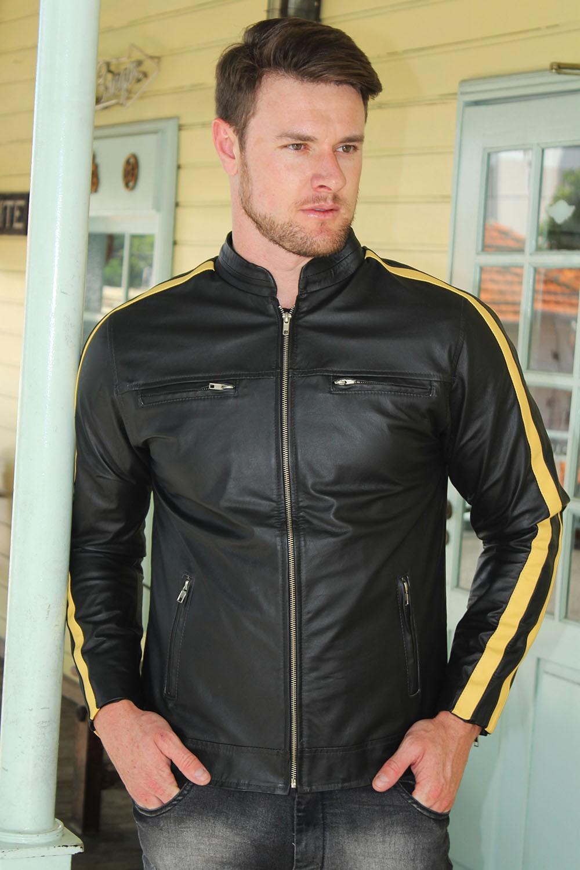 Jaqueta de Couro Modelo Tricolor C/Faixa Amarela
