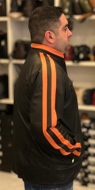 Jaqueta de Couro Modelo Tricolor C/Faixa Laranja