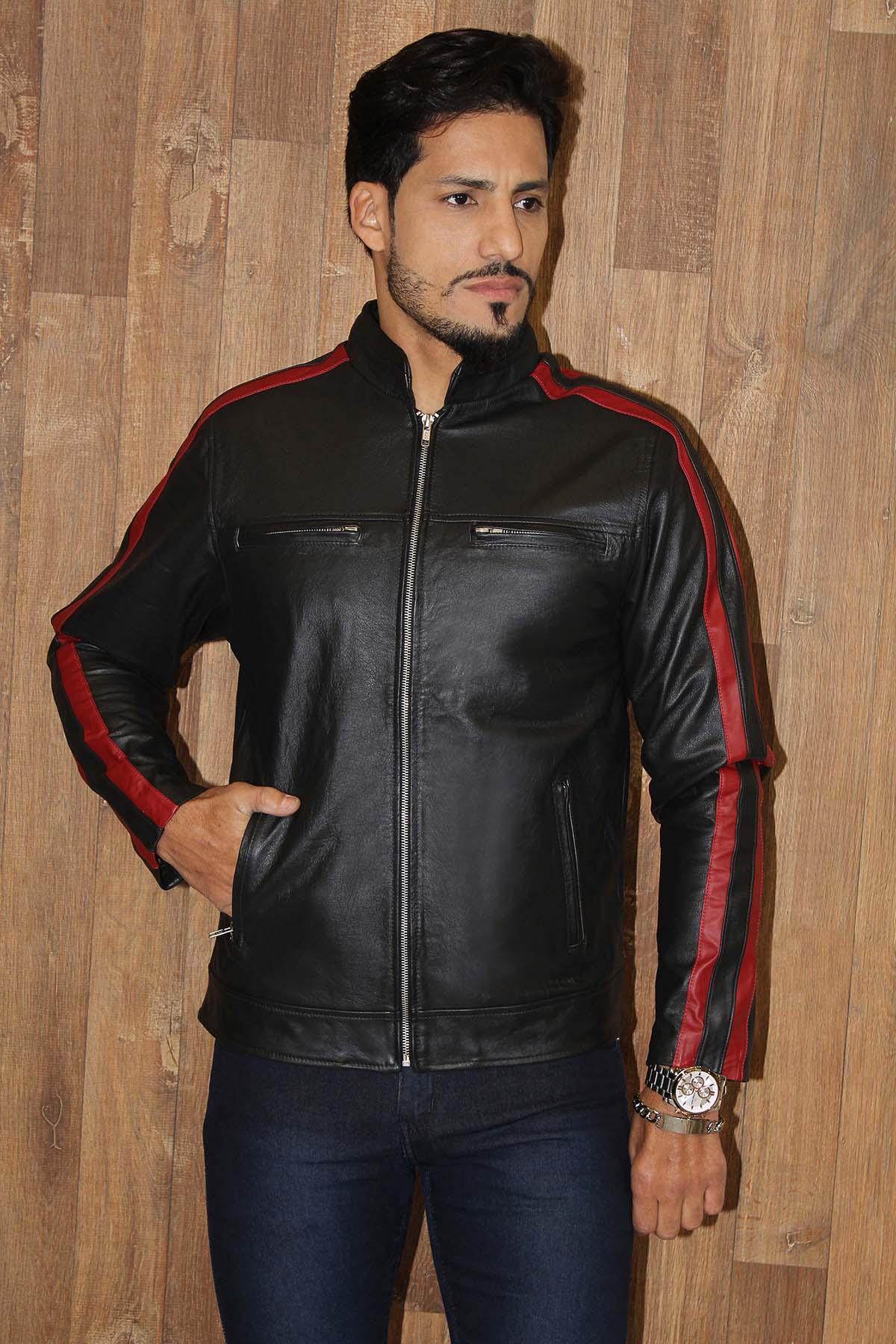 Jaqueta de Couro Modelo Tricolor C/Faixa Vermelha