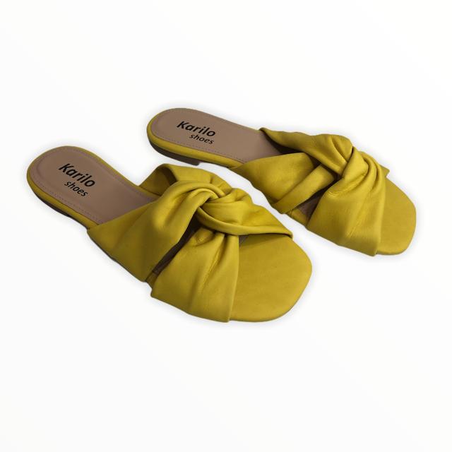 Rasteira em Couro Amarelo TDS51270