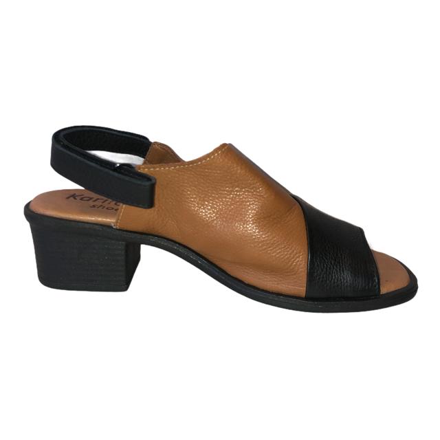 Sandália em Couro Preto/Whisky IB094