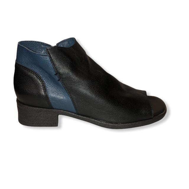 Sandália em Couro Preto/Azul FL005