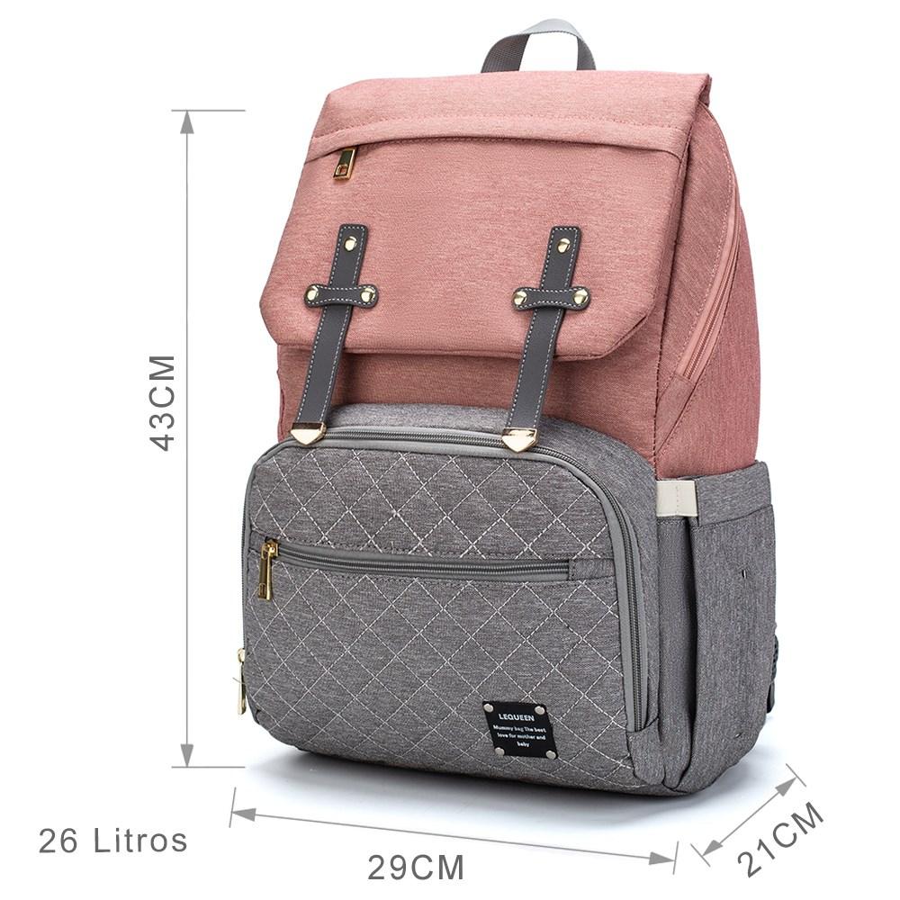 Bolsa Mochila Maternidade Lequeen Multifuncional Moderna Reforçada Multi Uso Ideal para Viajar com o Bebê Espaçosa e Resistente Original