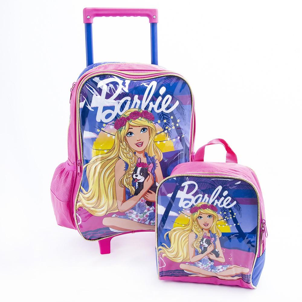 Kit Mochila de Rodinhas 30L e Lancheira 5L Original - Barbie