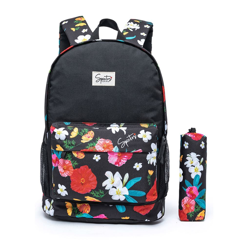 Kit Mochila Spector Tropical Floral e Estojo Estampado Escolar