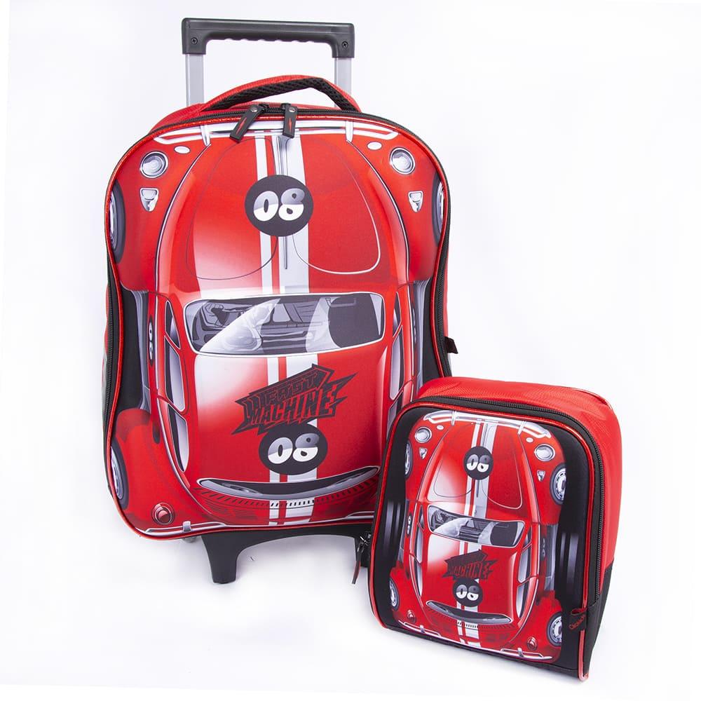 Kit Mochila de Rodinha 22L e Lancheira 5L Carros 3D - Fast Machine