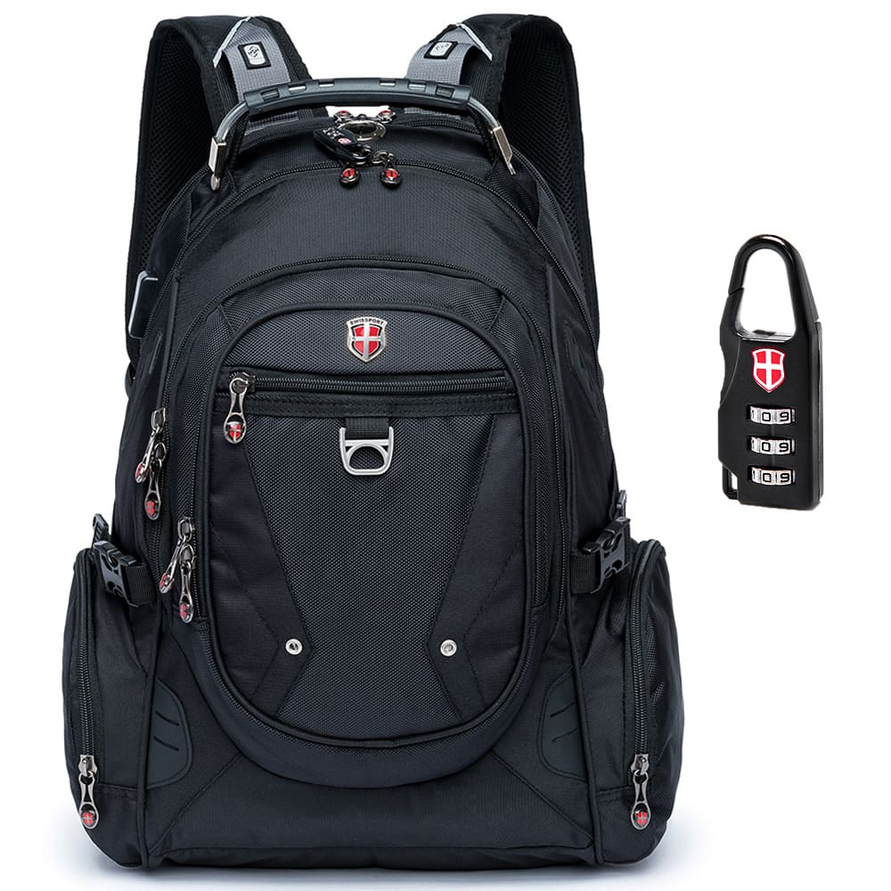 Mochila Executiva Hightech com Cadeado e Encaixe USB 33L - Swissport