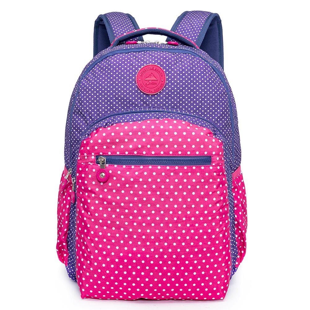 Mochila Spector Dots Compose Pink/Violeta Feminina Reforçada