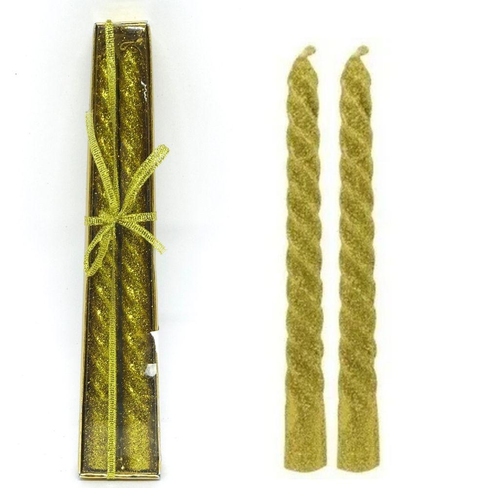Vela Castiçal Purpurina Dourada 6104  Wincy
