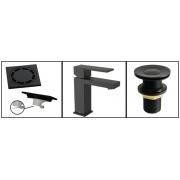 Kit Black Matte -Torneira + Válvula + Ralo 10cm
