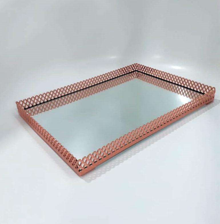 Bandeja Rose Gold com Espelho 30x21cm Shefield Steel
