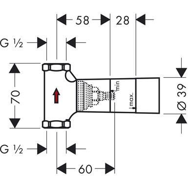 """Base de registro de pressão cerâmico de 1/2"""" DN15"""