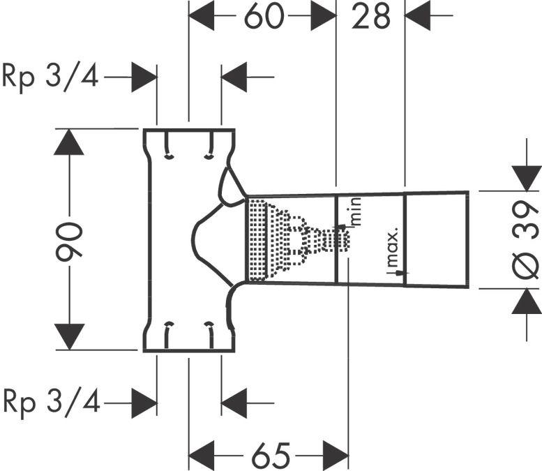 """Base de Registro de pressão convencional de 3/4"""" DN20"""
