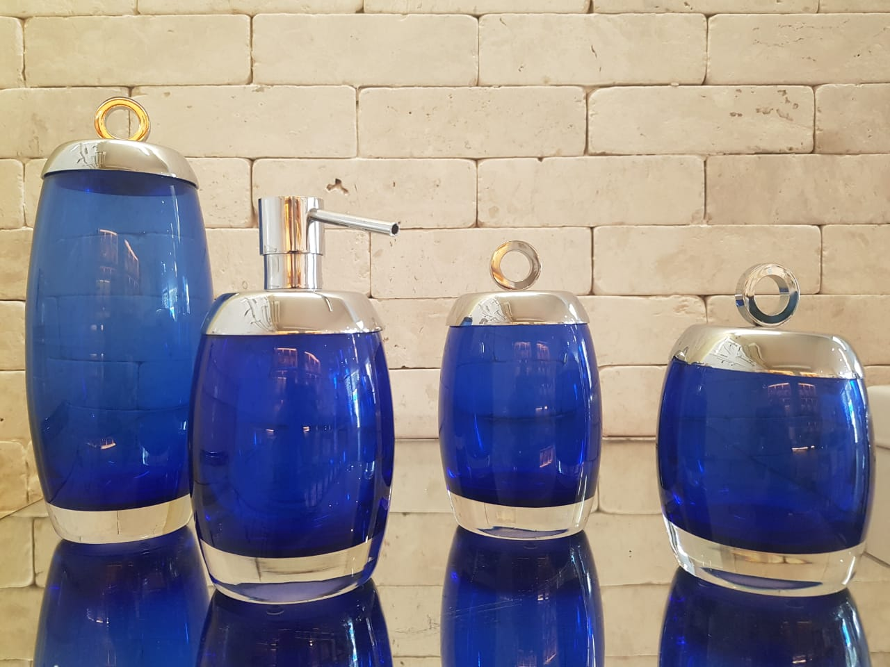 Conjunto Murano Oval Azul