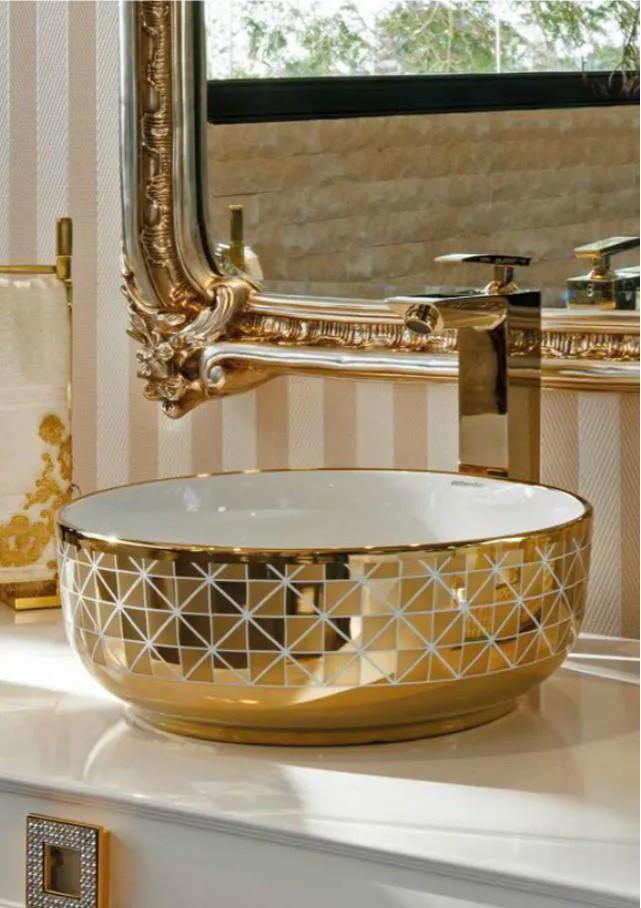 Cuba de Porcelana RUBINETTOS Branca Por Dentro e Dourada Por Fora