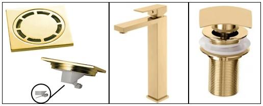 Kit Dourado - Torneira + Válvula + Ralo 10cm