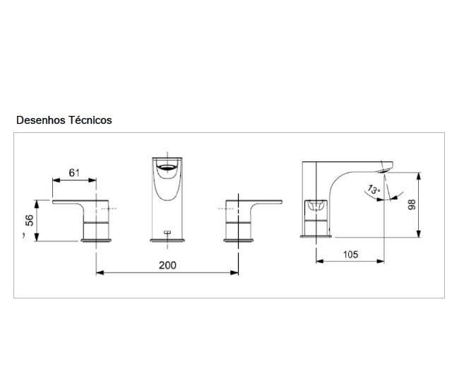 Misturador Bicomando De Mesa Bica Alta Para Lavatório Com Válvula De Escoamento.