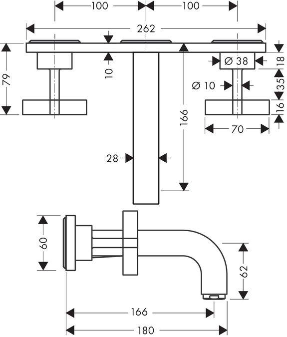 Misturador de Parede para Lavatório Bica de 166 mm com Acabamentos em Cruzeta com Placa Citterio