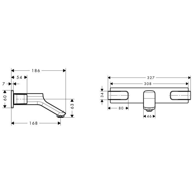 Misturador de Parede para Lavatório com Bica de 168 mm URQUIOLA