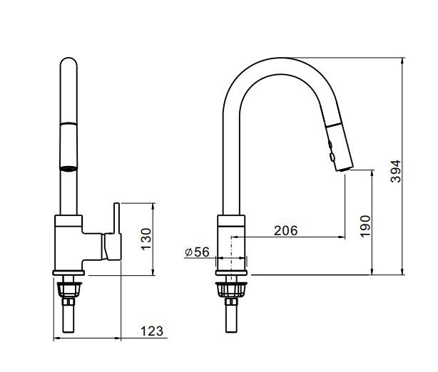 Misturador Monocomando De Mesa Para Cozinha Com Ducha Retrátil Volk Flute Níkel Escovado