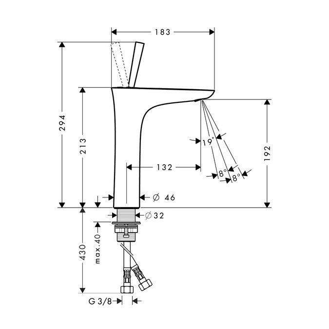 Misturador monocomando de mesa para lavatório PuraVida 200mm