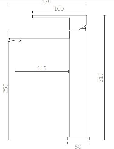 Misturador Monocomando para Lavatório. Bica Alta - Apoio - KROMMA
