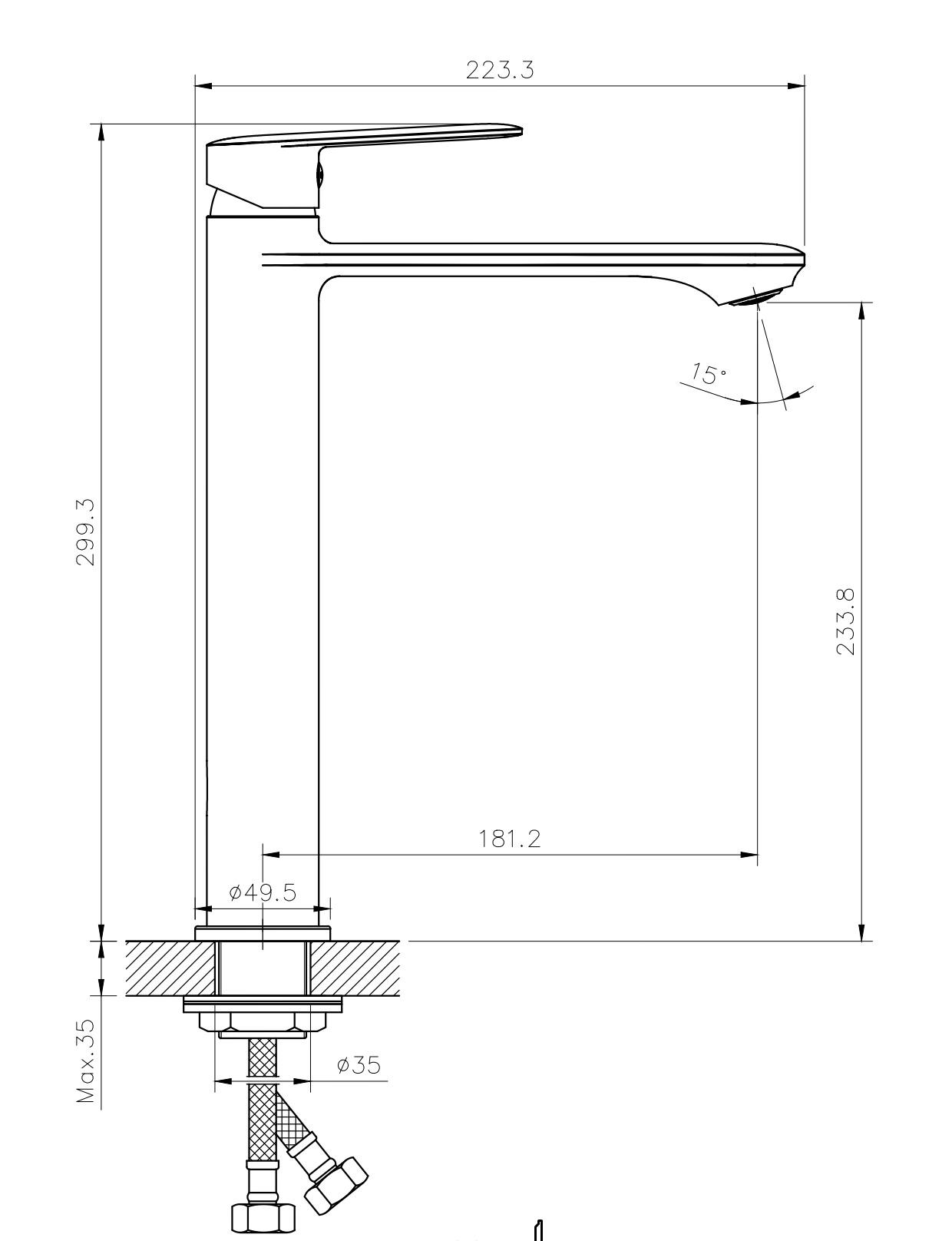Misturador Monocomando Para Lavatório Bica Alta Dourada - KROMMA