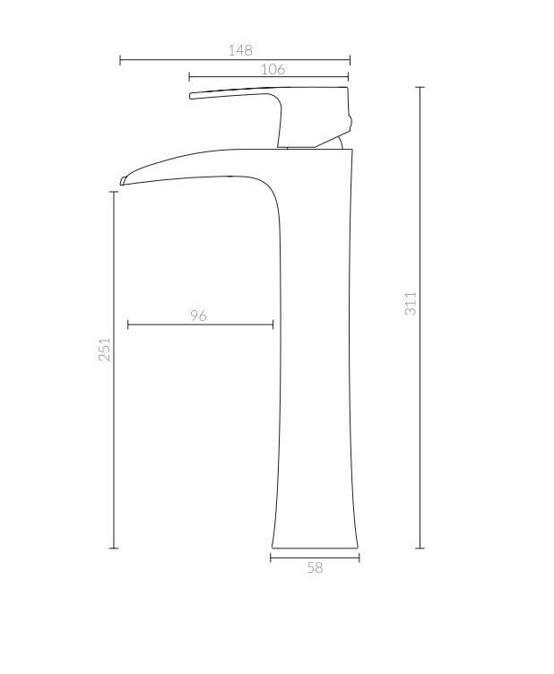 Misturador Monocomando Para Lavatório Bica Alta Tipo Cascata Acabamento Cromado.