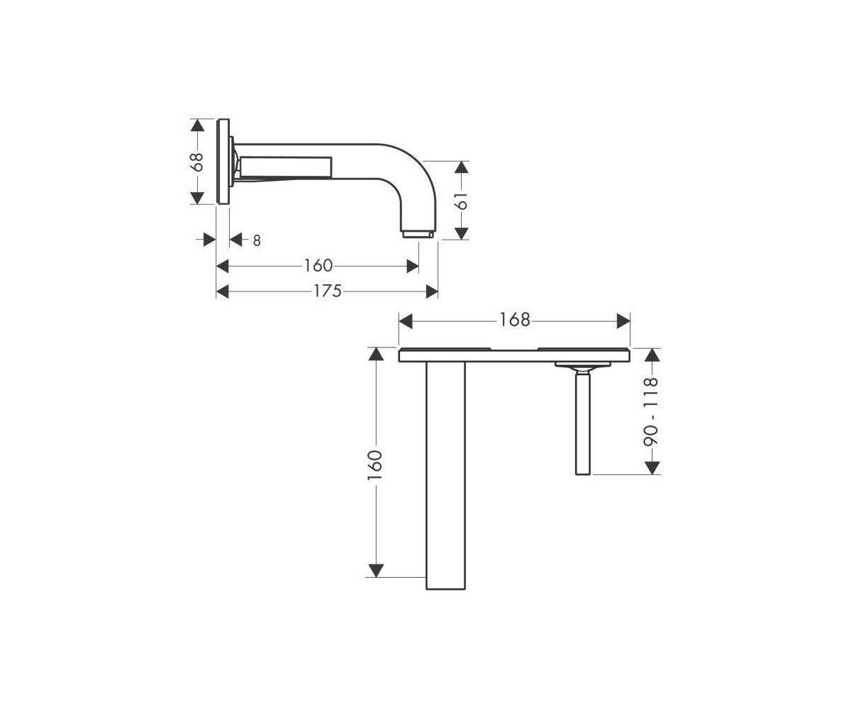Monocomando de Parede para Lavatório com Bica 165 mm com placa CITTERIO