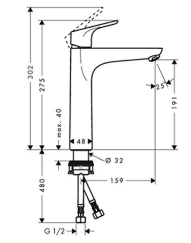 Monocomando Focus para Lavatório com Bica de 190 mm