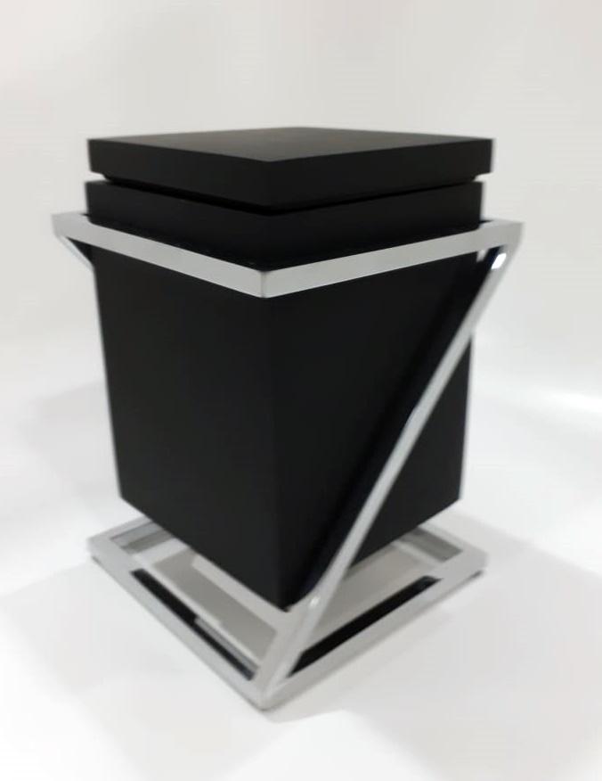 Porta Algodão/ Cotonete Quadra Res Preto Fosco 12x12x20