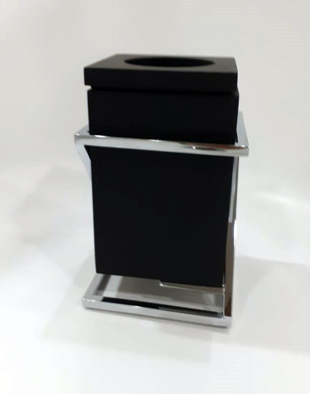 Porta Escova Quadra Aberto Res IB Preto Fosco 20x12x12