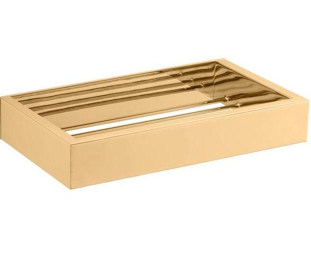 Porta Sabonete Quadratta Acabamento Dourado.