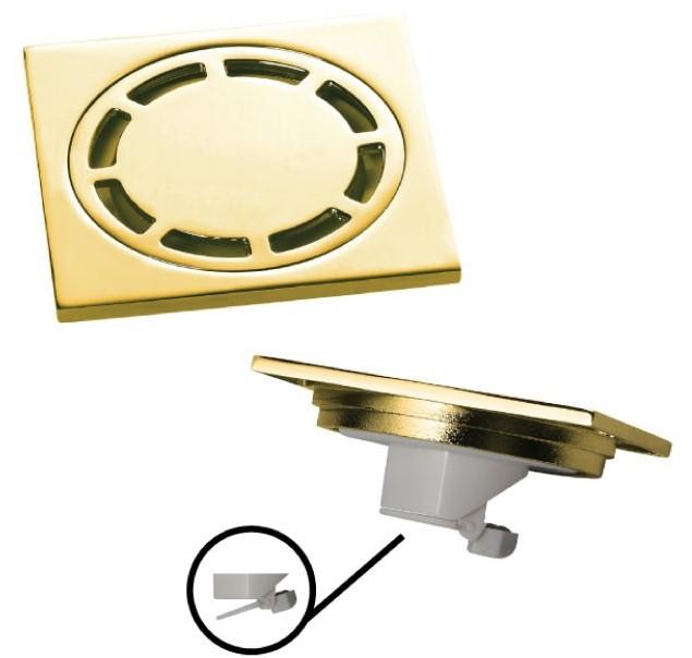 Ralo Inox Dourado Quadrado 10cm DOKA com válvula de fechamento GOLD