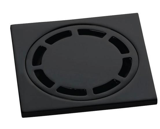 Ralo Quadrado 10cm DOKA com válvula de fechamento MATT BLACK DK4989PF